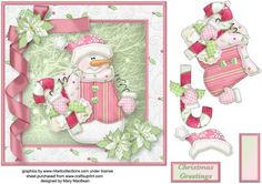 Snowman Gifts Decoupage Card Front on Craftsuprint - View Now!