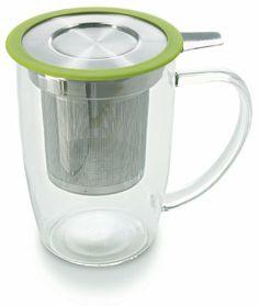Plastic-free, stainless steel & glass lose leaf tea infuser+mug.