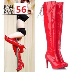 2016 new patent leather belt knee boots high heel boots waterproof table sexy boots steel boots boots boots