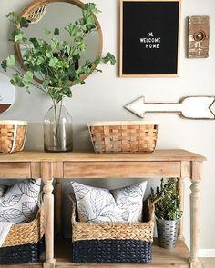 Entryway Decor | Modern Farmhouse Entryway | Baskets | Console Table