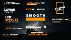 and resolutions Compatible with After Effects or CC. Change Colors Easily Gradient Color Section Very Fast Render Easy to Customize Help File included. No plug-in required Font:Proxima Nova After Effects Projects, After Effects Templates, Lower Thirds, After Effect Tutorial, Ad Design, Media Design, Layout Design, Title Card, Smooth Lines