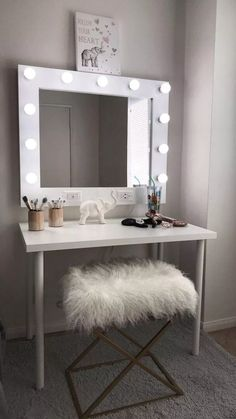 Vanities, you already know these small table-cum-cabinets with the mirror on high, and benches or chairs to match, are indispensable to ladies' bedroo. Cute Room Ideas, Cute Room Decor, Room Ideas Bedroom, Bedroom Decor, Makeup Room Decor, Aesthetic Room Decor, Stylish Bedroom, Awesome Bedrooms, Dream Rooms