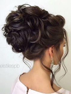 Beautiful Bridal Hair | Elegant Formal Updo | Curled Hair | Brunette
