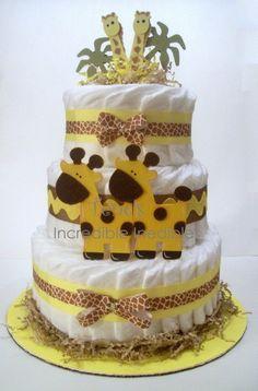 Diaper Cake grey-yellow-baby-shower