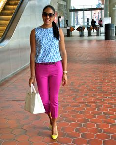 blue zebra top + pink crops