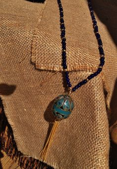 Lapis & Gold Glass Beaded Necklace with Ethnic Beads by ARTraJESS