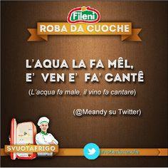L'aqua la fa mel, e' ven e' fa cantè! (l'acqua fa male, il vino fa cantare - @Susan Caron Caron Rojas via twitter) #ricette #cucina #food   - Segui #Fileni anche su Twitter: @Fileni_Official