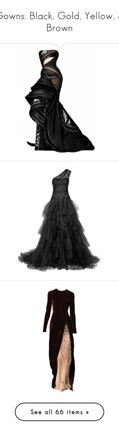 """Gowns: Black, Gold, Yellow, & Brown"" by sjk921 ❤ liked on Polyvore featuring dresses, gowns, long dresses, vestidos, black, embroidery dresses, lace tulle dress, tulle dress, lace evening dresses and long tulle dress"