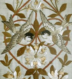arts and crafts embroidery | Circa 1880 Morris & Co Embroidery Panel .