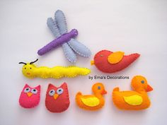 Stuffed Felt Animals  set of 7 pieces by WinterEma