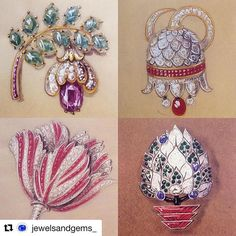 #Repost @jewelsandgems_ with @repostapp ・・・ Inspired by the beauty of the garden this weekend, I thought I'd share these wonderful floral themed brooch designs by Boivin dated from between 1930 and 1948. Our tulips are particularly stunning this year and I love the red and white striped design here as well as the lovely campanula bell.