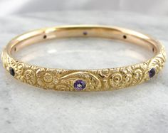 Victorian Solid Gold Bangle with Amethysts by MSJewelers Solid Gold Bangle, Gold Bangles, Bangle Bracelets, Emerald Bracelet, Amethysts, Jewelry Design, Unique Jewelry, Eternity Bands, Gems