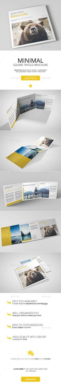 Minimal Square Trifold Brochure Template PSD #design Download: http://graphicriver.net/item/minimal-square-trifold-brochure/13108089?ref=ksioks