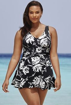 Women Swimwear One Pieces Swimsuits Black and White Print floral high waisted bathing suits Plus Size Swimwear Plus Size Bikini Bottoms, Plus Size Tankini, Women's Plus Size Swimwear, Curvy Swimwear, Trendy Swimwear, Bathing Suit Dress, Swim Dress, Black Swimsuit, One Piece Swimsuit