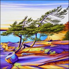 Margarethe Vanderpas - Fine Artist - Eastern Shores of Georgian Bay Canadian Painters, Canadian Artists, Abstract Landscape, Landscape Paintings, Tree Paintings, Contemporary Landscape, Abstract Art, Nature Artists, Light Painting