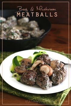Gluten Free Beef  & Mushroom Meatballs with Stroganoff Sauce - naturally gluten-free for #celiacawarenessmonth. Chia seed keeps them super moist!