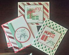 A Little Bit More Joy!  Christmas cards using Stampin' Up! Your Presents stamp set & Holidays Fancy Foil Designer Vellum
