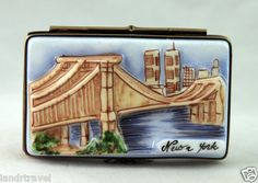 WORLD TRADE CENTER NEW YORK CITY 3-D SCENE HAND PAINTED NEW FRENCH LIMOGES BOX