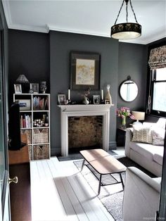 Most Design Ideas 199 Small Living Room Ideas For 2017 Pictures, And Inspiration – Modern House White Painted Floors, Small Living Room, Home Decor, Living Room Wall, Dark Grey Living Room, Living Room Grey, Living Decor, Home And Living, Victorian Living Room