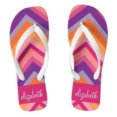 a0dfe43e Hot Pink Purple Orange Chevron Pattern Flip Flops Cute Flip Flops, Bride Flip  Flops,