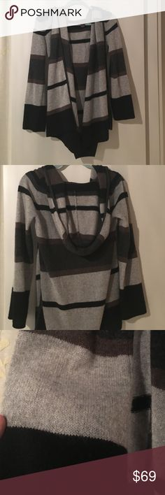 Gorgeous cashmere cardigan w/hood PERF for winter! 100% cashmere cardigan by Fenn Weight Manson. Striped grey brown and black. Hooded. So comfortable. Worn 2-3 times with no signs of wear Fenn Wright Manson Sweaters Cardigans