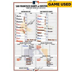 David Ortiz Boston Red Sox Fanatics Authentic Autographed Game-Used Lineup Card vs. San Francisco Giants on July 20, 2016