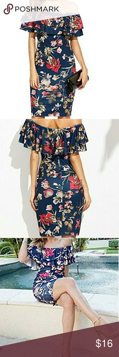 Floral Ruffle Off Shoulder Bodycon Dress Make a statement in this sexy floral off shoulder bodycon dress. This dress is a stunner!!! The material is very flattering and gives a slimming effect. Perfect for parties and fun! Smoke free,  pet free home,  true to size. Dresses Midi
