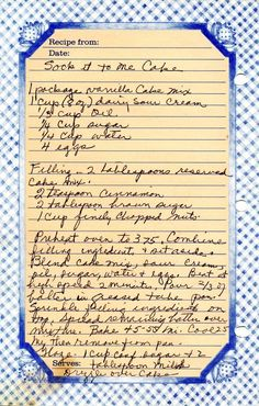 1 package vanilla Cake mix 1 cup (8 oz) dairy sour cream 1/3 cup oil 1/4 cup sugar 1/4 cup water 4 eggs Filling — 2 tablespooons reserved cake mix. 2 teaspoon cinnamon 2 tablespoon brown suga… Retro Recipes, Old Recipes, Vintage Recipes, Amish Recipes, Cinnamon Recipes, Yummy Recipes, 13 Desserts, Delicious Desserts, Health Desserts