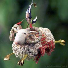 Joyful Flying Ram Ornament