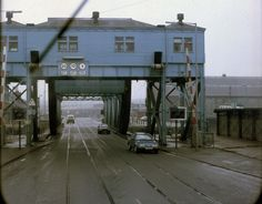 https://flic.kr/p/8scJin | View from the cab of 03 170 at the East Float Lift Bridge. | Photo Taken : 20.01.1987.  This view was taken from the cab of 03 170 as it mingled with the morning traffic on it way from Duke Street Sidings, Birkenhead to Spillers Flour Mill at Seacombe. This bridge was the reason class 03's worked the Birkenhead Docks shunting pilot jobs as it had a weight restriction precluding the use of larger class 08's. Alas this part of the MD&HBR has all now closed.