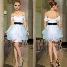 Cute White Blue Off the Shoulder Short Bridal Wedding Party Tutu Dress SKU-401263