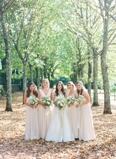 Bridal party dresses in neutral tones