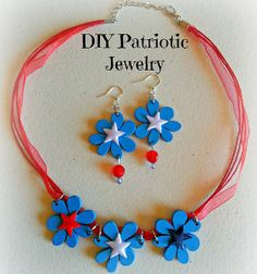 Bring some festive flower fun to your Fourth of July celebrations with these Easy Patriotic Ribbon Jewelry pieces. This simple tutorial will show you how to make patriotic DIY earrings and a DIY necklace.