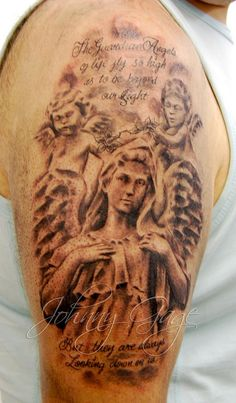angel cherubs and text tattoo