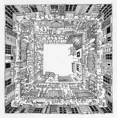 Space, 1 point perspective drawing, birds eye view