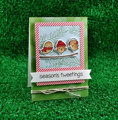 Season's Tweetings by Kelly Marie Alvarez using Lawn Fawn for the Simon Says Stamp Blog. Die-Cember 2013