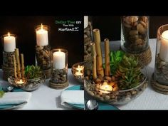 Embrace the beauty of nature with this week's DIY Simply Succulent Centerpiece that is perfect for your wedding, baby shower, bridal shower or even your dining room table at home. Party Table Centerpieces, Succulent Centerpieces, Dollar Store Crafts, Dollar Stores, Diy Wall Decor, Diy Home Decor, Tree Crafts, Diy Crafts, Decor Crafts