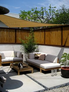 bamboo fence patio - asian - landscape - los angeles - Jesse Im/BOMLDesign Diy Pergola, Deck With Pergola, Covered Pergola, Pergola Shade, Pergola Ideas, Backyard Ideas, Carport Ideas, Corner Pergola, Cheap Pergola
