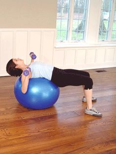 Today's Exercise: Dumbbell Chest Press on Ball...Using dumbbells instead of a barbell forces each arm to work equally, preventing imbalances.