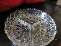 "c1897 Ohio Flint's Diamond Star and File Heavy Glass 3 way divided relish tray not-footed. 8"" Wide  1 1/2"" Tall. Good condition for age - has two tiny rough spots -nicks or flea bites?"