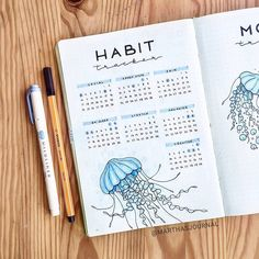Jellyfish are so fun to draw! 💙 (Also why is there no jellyfish emoji? Bullet Journal Spreads, February Bullet Journal, Bullet Journal Headers, Bullet Journal Monthly Spread, Bullet Journal Cover Page, Bullet Journal 2020, Bullet Journal Aesthetic, Bullet Journal Layout, Bullet Journal Inspiration