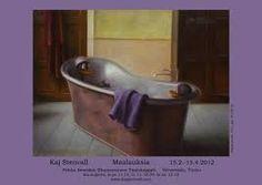 "Born Tampere, Finlandopinnot studies: Turun Taideyhdistyksen Piirustuskoulu ""Kaj Stenvall first came to the atte. Burgundy, Bathtub, Pearls, Bathroom, Purple, Oil, Painting, Standing Bath, Washroom"