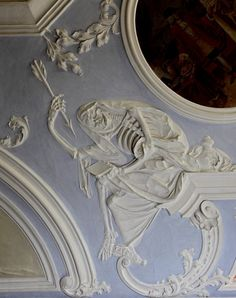 Ceiling plaster by Johann Georg Leinberger, 1729 - City Hospital, former St. Michael Benedictine Monastery - Dance of Death - Bamberg Danse Macabre, Gothic Home Decor, Gothic House, Skull And Bones, Dark Art, Art Inspo, Architecture Design, Gothic Architecture, Decoration