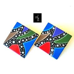 Hand Painted Wood Earrings by Abstract Earrings & Accessories #handmade #colorful #fashion #wearableart