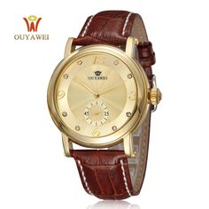>> Click to Buy << Men Gold black Fashion business Watches Automatic Mechanical Wrist watches  OUYAWEI Luxury Brand clock with leather watchband #Affiliate
