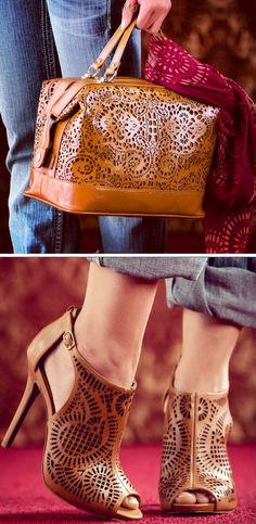 Cognac Laser Cut Satchel Bag & Heels  ♥ L.O.V.E.