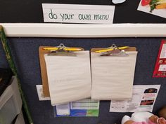 Promote writing in the dramatic play area by having children create their own menus.