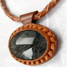 Amazing Silver Obsidian pendant mounted on от OrigenLeather