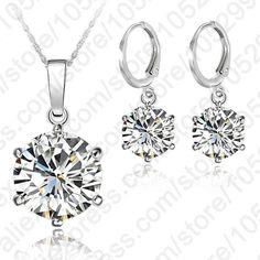 Patico kadın 925 ayar gümüş takı setleri cz kristal kübik zirkon kristal kolu geri küpe kolye kolye güzel hediyeler