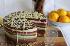 layered ice cream cake with chocolate, vanilla & peppermint